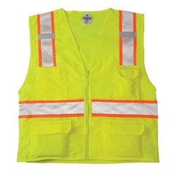 ML Kishigo 1163 Class 2 Solid Front Mesh Back Safety Vest - Yellow/Lime