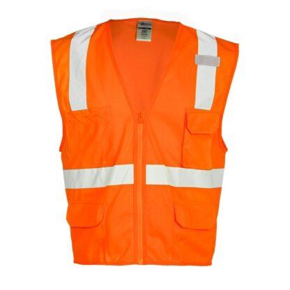 ML Kishigo 1292 6 Pocket Zipper Solid Orange Vest