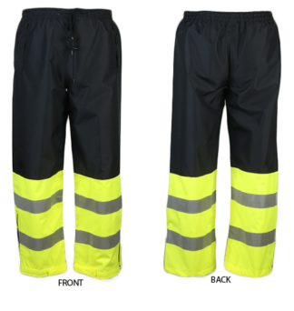 737C-E Lime/Navy Blue Waist Rain Pants