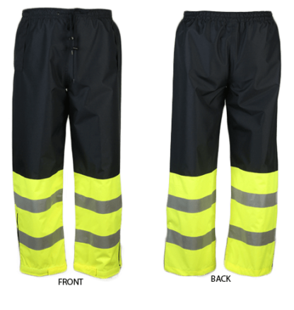 737C-E Lime/Navy Blue Waist Rain Pants