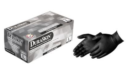 2026BK Black Embossed Diamond Grip Nitrile Gloves