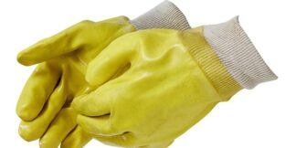Liberty Gloves 2331JL Smooth Finish Yellow PVC Glove with Knit Wrist, Dozen