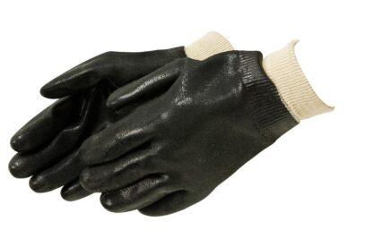 Liberty Gloves I2421 Rough Finish Black PVC Glove with Knit Wrist, Dozen