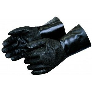 Liberty Gloves I2423 Rough Finish Black PVC Glove with 12 inch Gauntlet, Dozen
