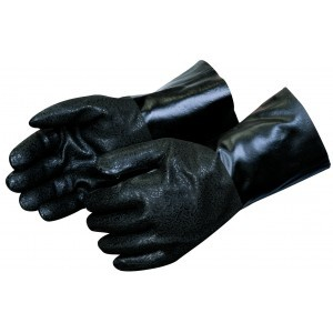 Liberty Gloves I2433 Rough Finish Black PVC Glove with 12 inch Gauntlet, Dozen