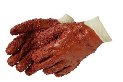 Liberty Gloves 2451 PVC Chips Finish On Red PVC Glove with Knit Wrist, Dozen