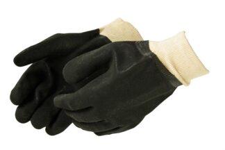 Liberty Gloves 2631 Sandy Finish Black PVC Glove with a Knit Wrist, Dozen