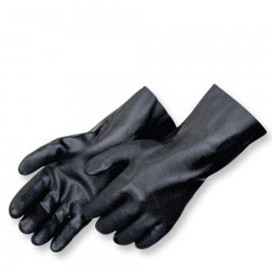 Liberty Gloves 2624 Sandy Finish Black PVC Glove with a 14 inch Gauntlet, Dozen