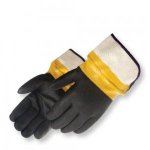 Liberty Gloves 2640L Sandy Finish Black PVC Glove with Plasticized Safety Cuff, Dozen