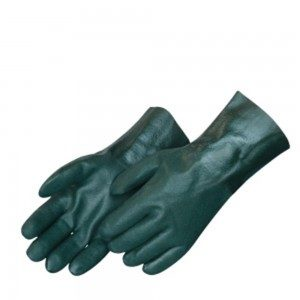 Liberty Gloves 2734 Sandy Finish Green PVC Glove with 14 inch Gauntlet, Dozen