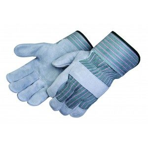 Liberty Gloves 3260Q/G Regular Leather Palm Gloves Green Fabric Back, Dozen