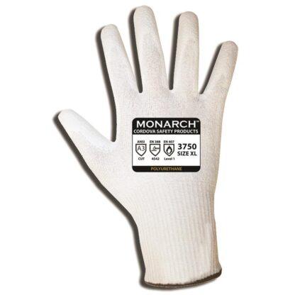 Monarch 3750 PU ANSI Cut A3 13-gauge, spun high-performance shell, white PU palm coating - Dozen