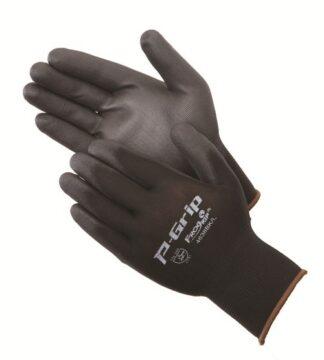 P-Grip 4638BK Ultra-Thin Black Polyurethane Coated Palm Glove, Dozen