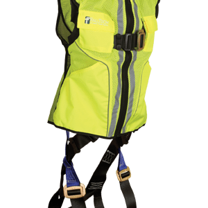 FallTech 7015  Hi-Vis Lime Vest Contractor Full Body Harness