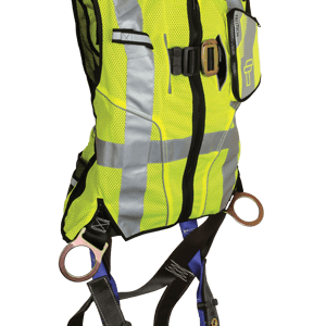 FallTech 7018 Contractor Full Body Harness with Class 2 Hi-Vis Lime Vest