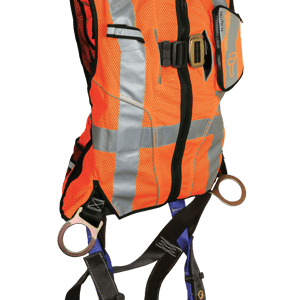 FallTech 7018O Contractor Full Body  Harness with Class 2 Hi-Vis Orange Vest