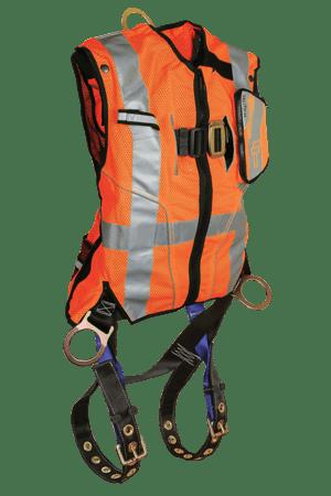 FallTech 7018O Contractor Full Body  Harness with Class 2 Hi-Vis Orange Vest