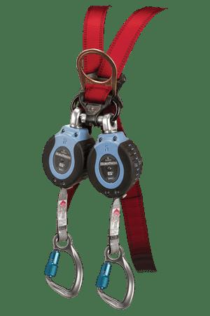 FallTech 82706TB6 DuraTech® 6 Twin 6fl Compact Web SRL Alum. Captive-Eye Carabiner leg-end Connectors