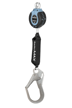 FallTech 82709SA3 DuraTech Max 9ft Single Leg Web Self-Retracting Device with Swivel Eye & Steel Rebar Hook