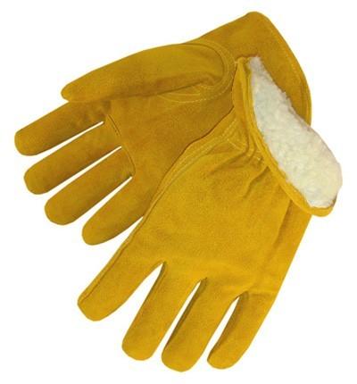 8354 Pile Lined Bourbon Brown Split Cowhide Driver Gloves, Dozen