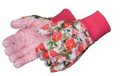 9210 Floral Printed Cotton Glove With PVC Dots, Dozen