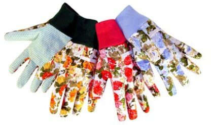 9123 Assorted Floral Print Cotton Canvas Glove, Dozen