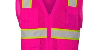 ML Kishigo B107 Enhanced Visibility Multi-Pocket Pink Mesh Vest
