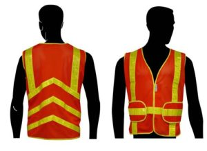 C16852F All Mesh Orange Class 2 Vest, with Yellow PVC Stripes & Chevron Stripes on the Back, and Expandable Sides
