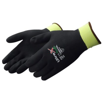 Liberty Gloves F4902HG Ultra-X 18 Gauge Cut Resistant Hi Vis Green Shell with Fully Coated in Black Nitrile, Dozen