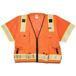 ML Kishigo S5011 Orange Professional ANSI Class 3 Surveyor Safety Vest