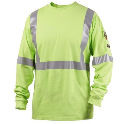 Black Stallion TF2511-LM  7 oz. 100% FR Cotton Knit Long-Sleeve Reflective T-Shirt, Lime