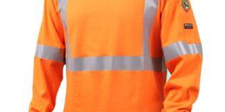 Black Stallion TF2511-OR  7 oz. 100% FR Cotton Knit Long-Sleeve Reflective T-Shirt, Orange