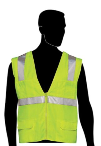 C16021G Lime All Solid Fabric Class 2 Vest