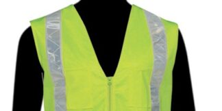 C16822G Lime All Solid Class 2 Vest with Silver PVC Stripes