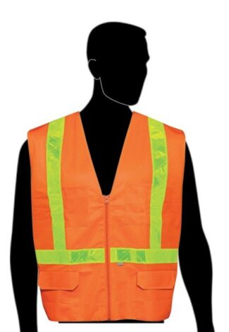C16822F Orange All Solid Class 2 Vest with Yellow PVC Stripes