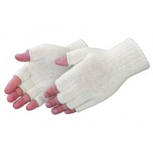 F4517Q Fingerless Natural White Cotton/Polyester Knit Wrist Glove, Dozen