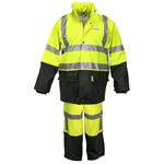 5182S - Luminator .40mm PU/Cotton-Poly Blend Class 3, 2 pc suit, silver reflective, Fluorescent Lime/Black