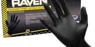 66518 Raven 6 mil Black Nitrile Disposable Gloves, 100ct/box Case/10 box