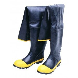 1531 Black PVC Steel Toe Hip Wader Boots, Pair