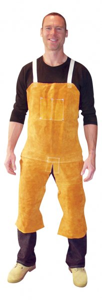 John Tillman 4342 Leather Aprons - Split-leg bib apron w/ metal D-rings on front