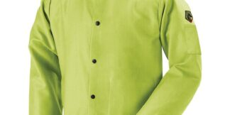 Black Stallion FL9-30C TruGuard  9oz FR Cotton Welding Jacket, Safety Lime
