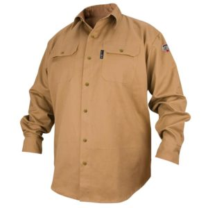 Black Stallion FS7-KHK 7oz. Flame-Resistant Cotton Work Shirt