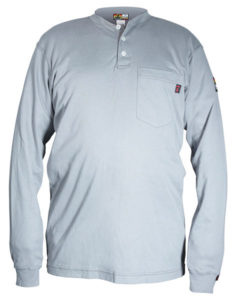 H1G - Flame Resistant (FR) Long Sleeve Gray Henley Shirt, 100% Cotton