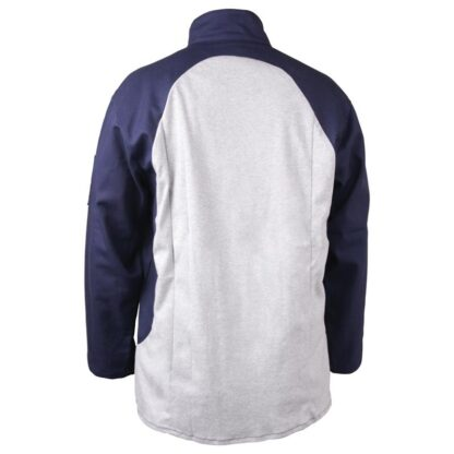 Black Stallion JF1625-NG Stretch-Back FR Cotton Welding Jacket, Navy with Gray Stretch Panel