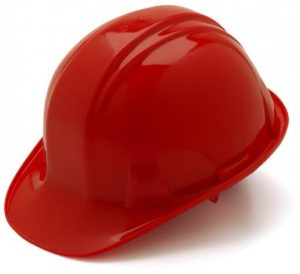 Red Hard Hat with 6 Point Pinlock Suspension