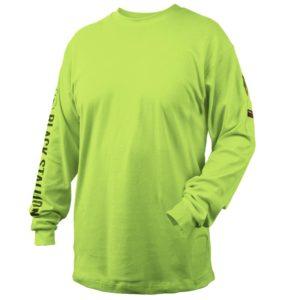Black Stallion TF2510-LM  7 oz. 100% FR Cotton Knit Long-Sleeve T-Shirt, Lime