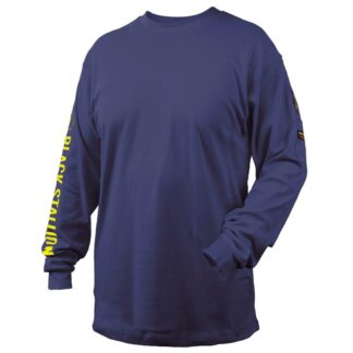 Black Stallion TF2510-NV  7 oz. 100% FR Cotton Knit Long-Sleeve T-Shirt, Navy