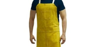 A7442 Leather Aprons - Bib apron w/ 2 chest pockets & back straps
