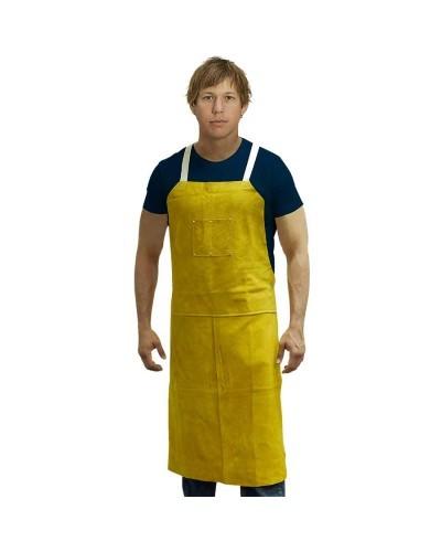 A7442 Leather Aprons - Bib apron w/ 2 chest pockets & back straps