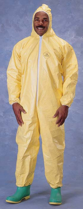 QC122S DuPont Tychem QC Coveralls - Attached hood & boots, elastic wrists, 12ct Case